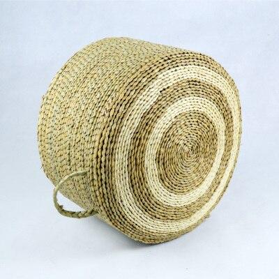 Portable Grass Braid Round Large Floor Cushions Japanese Futon Meditation Cushion Thickening Circle With Handle Seat Tatami Beac