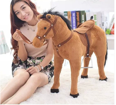 simulation animal riding horse plush toy 82x62cm brown horse whinny horse doll childrens birthday gift,Christmas gift w8466 ...