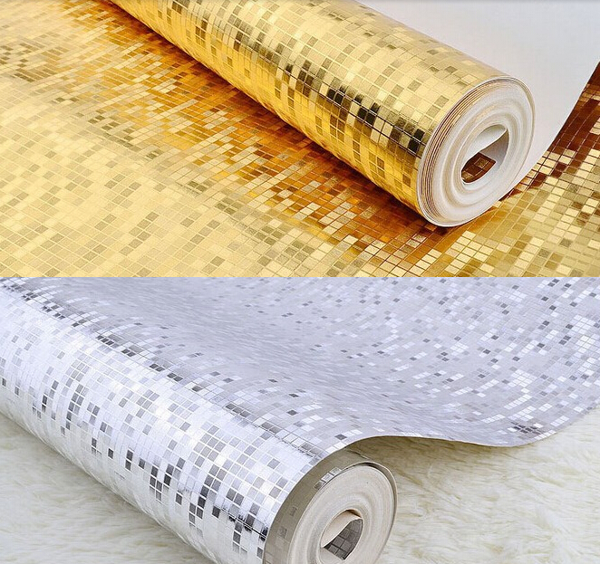 Hot Gold,silver gray,gold foil Mosaic waterproof wallpaper grid simulation golden TV setting wall roof ceiling PVC wall paper
