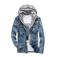 2017 New Bomber Denim Jacket Men Autumn Winter Fashion Detachable Hooded Men Vintage Designer Denim Jacket