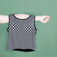 Creative Harajuku Sexy Girls Mosaic Visual Breast Enhance Crop Tops Big Chest Vest Tank Tops Shirt
