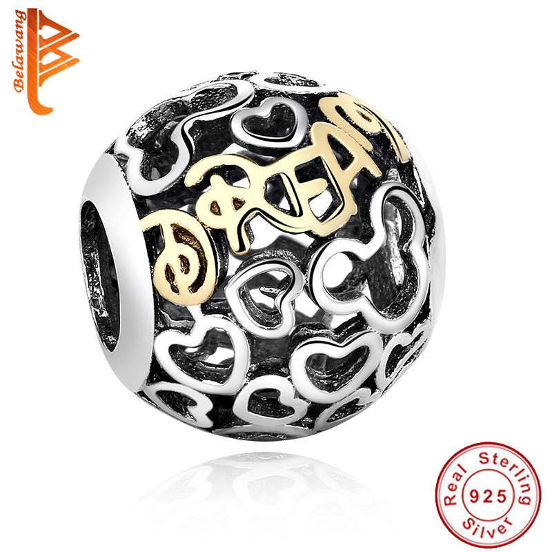100 Original 925 sterling silver Round beads Gold Plated Mickey charms Fit Pandora bracelet DIY Jewelry
