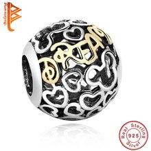 100% Original 925 sterling silver Ronda perlas Chapado En Oro Mickey encantos Fit Pandora Joyería de la pulsera DIY Envío gratis