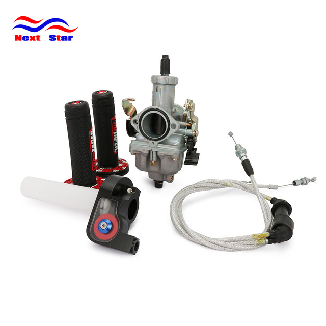 $ US $30.13 Motorcycle PZ30 30MM Accelerating Pump Carburetor For CB CG 200CC 250CC Dual Reinforced Cable Visiable Twister Pro Taper Grips