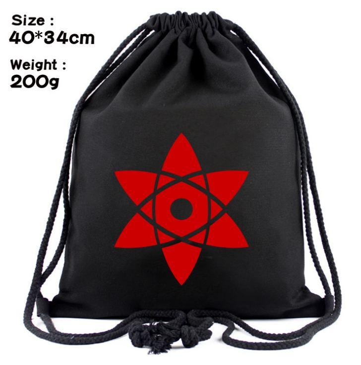 Drawstring Backpack Bag of Anime Naruto Black Backpack Sports Bag Fashion Travel Rucksack