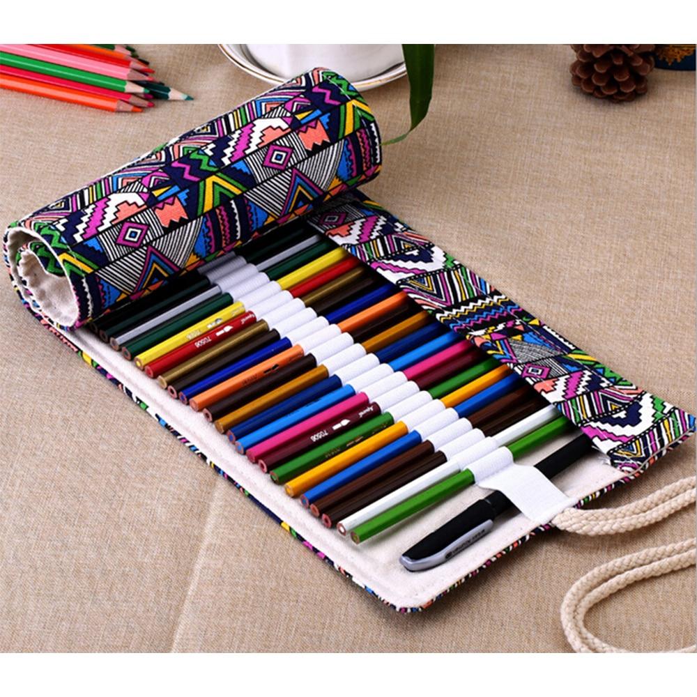Kreativní lidový styl ručně vyráběné plátno 36/48/72 otvory tužka Pen Roll Up taška přenosný cestovní make-up Komerční pero skladovací pouzdro dárek