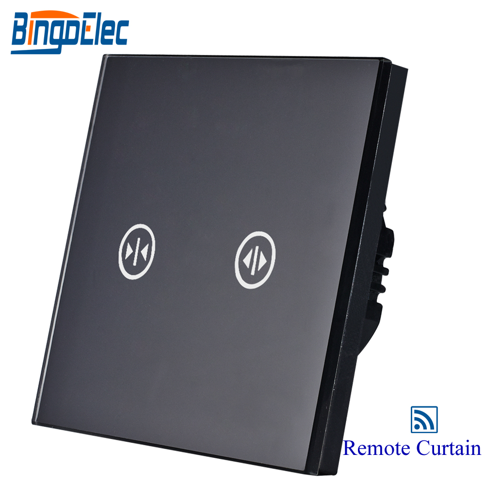 wireless remote roller shutter switch,curtain switch,black glass blind switch,AC110-250V, цена