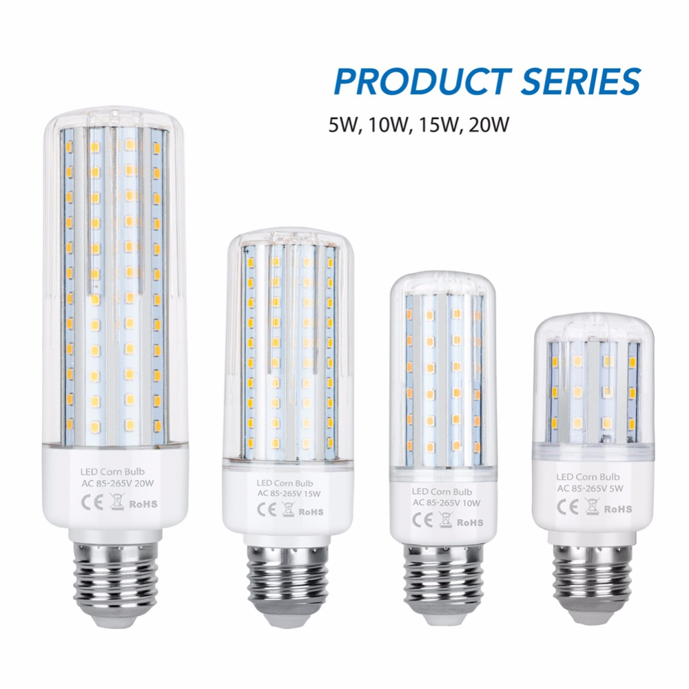 Led E27 E14 Corn Lamp AC 110V <font><b>220</b></font> Led Bulb 5W 10W 15W 20W Spotlight Living Room Decoration Light SMD2835 Warm/White Leds Ampul image