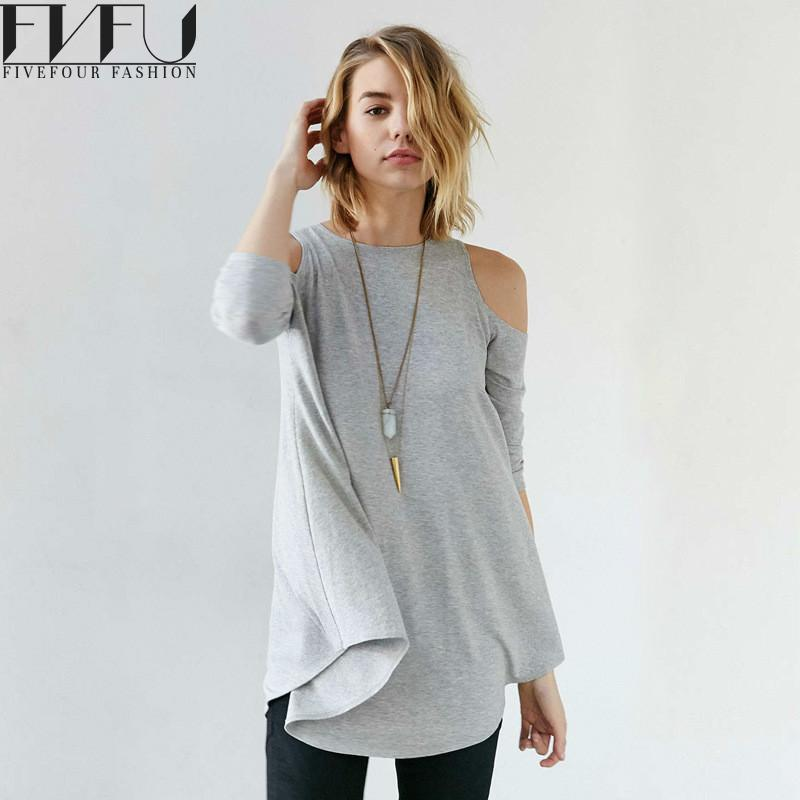 e5f4450f9a64 Fashion T Shirt Women 2018 Sexy Off Shoulder Casual Tops Long Sleeve Plus  Size xxl Autumn T Shirt Loose Solid Casual De Mujer-in T-Shirts from Women's  ...
