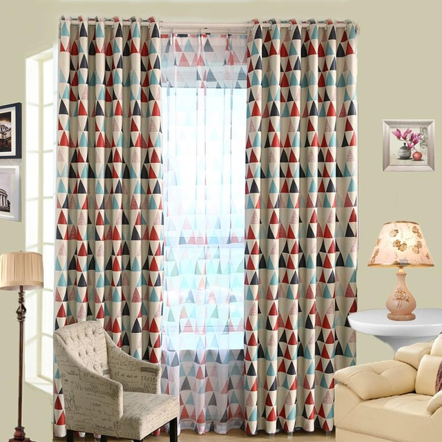 Geometric Custom Curtain Contemporary Curtains for Living Room ...