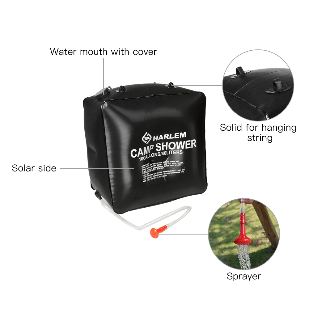 20L//40L Portable Solar Energy Heated Shower Bathing Bag Camping Hiking Traveling