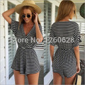2016 summer black/white striped jumpsuit designer womens loose casual short sleeve V-neck waisted shorts culotte beach rompers