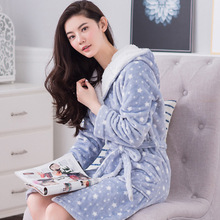 2017 Autumn winter bathrobes for women hooded lady's long sleeve flannel robe female sleepwear lounges nightgown pyjamas
