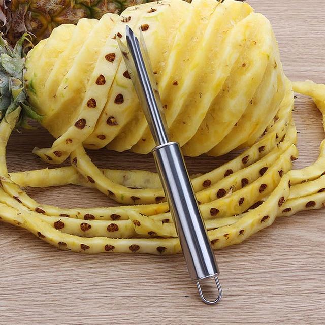 Portable Non-slip stainless steel Fruit Pineapple Peeler Easy Cleaning Fork Fruit Tools Kitchen Tools