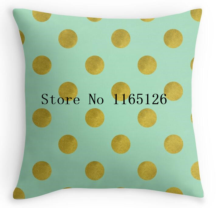 hot funny gold foil polka dots on mint green square zippered throw pillows decorative pillowcase twin sides