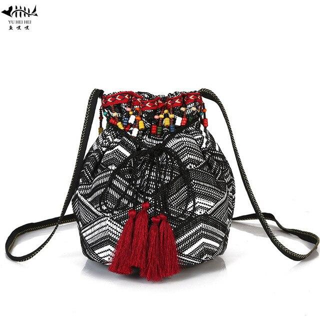 a155f74d4026 Beading Tassel Fringe Small Bags Bucket Women Shoulder Crossbody Bag Gypsy  Bohemian POP Striped Style Hippie Hobo Bags for Girls