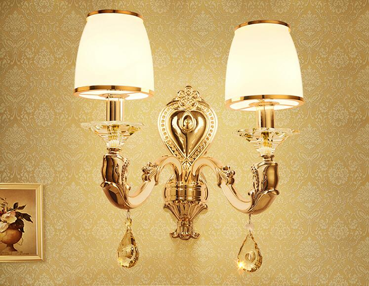 European style living room background wall lamp bedroom bed head zinc alloy new wall lamp enhanced version of european style metal bed iron bed double bed pastoral style student bed 1 5 meters 1 8 meters