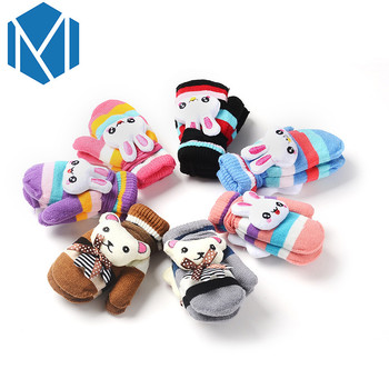 M MISM Winter Gloves For Kids Sofe Comfortable Bear Bunny Cute Winter Thicker Children Mittens With Animals Handschoenen