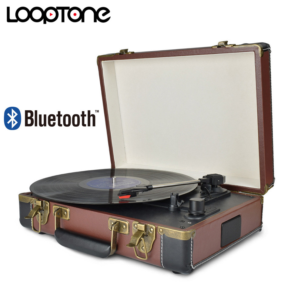 LoopTone Bluetooth Portable 33 45 78RPM Turntables Vinyl Record Phono Player Aux in RCA Line out