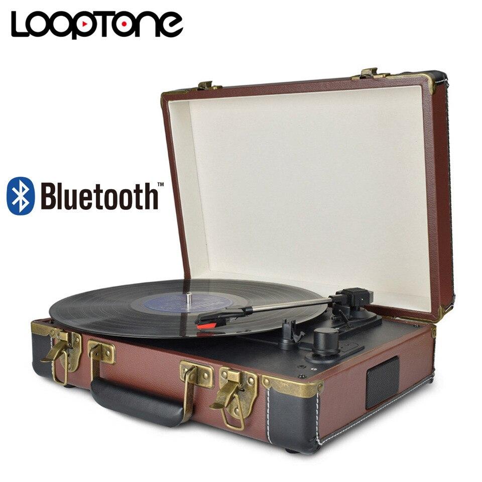 LoopTone Bluetooth Portatile 33/45/78 RPM Giradischi Vinyl Record Lettore Aux-in Linea RCA Phono-fuori Built-In Batteria 110 ~ 240 V