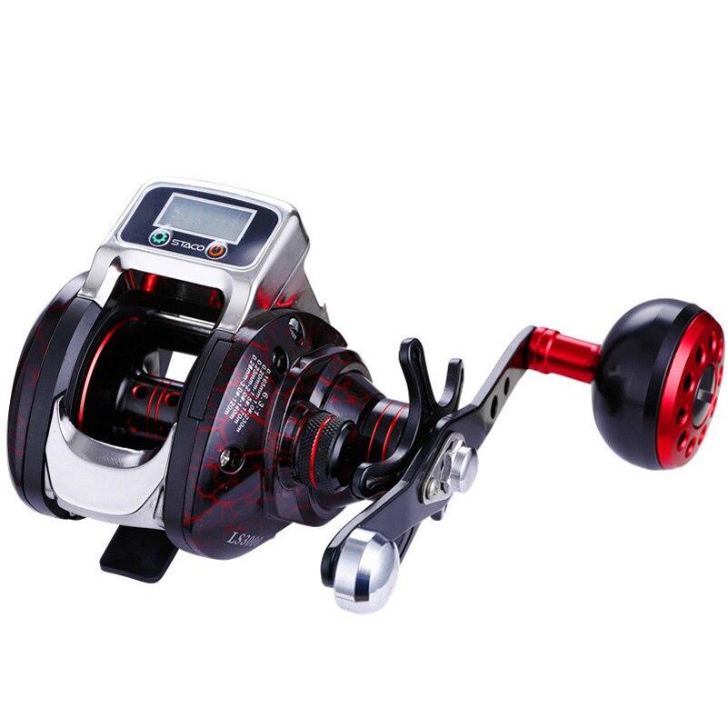 YUYU Digital Display Fishing Reel with battery Baitcast Reel Counter by meter 6.3:1 Bait casting reel Metal Coil Drag 5KG