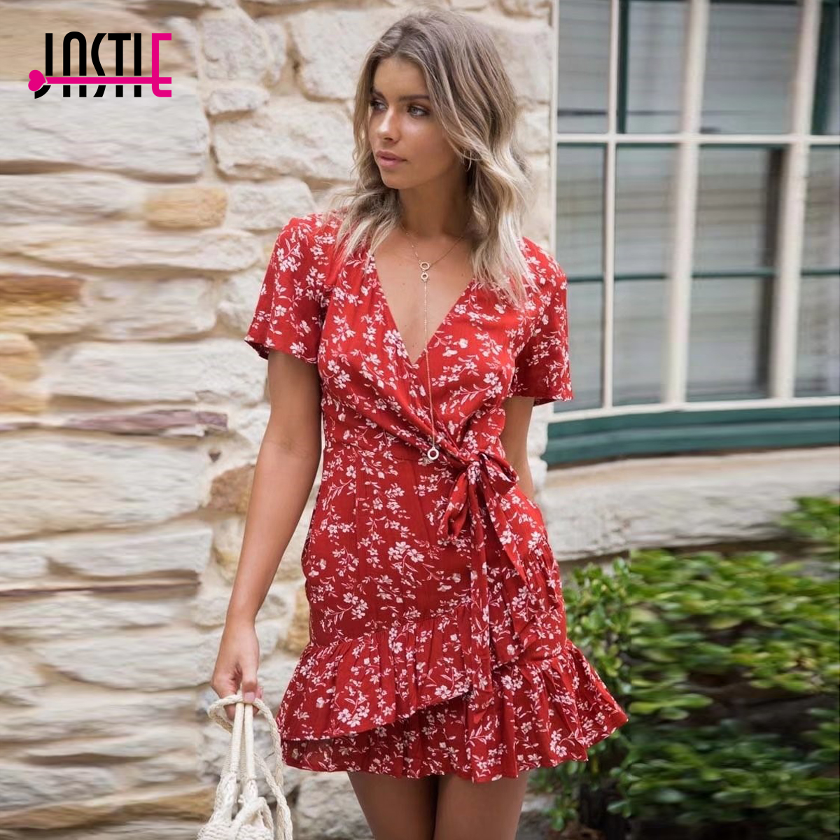 76b3f5b3c299 Jastie V-Neck Short Sleeve Wrap Dress Floral Print Red Mini Dresses Ruffle  Hem Casual Beach Dress Summer female vestidos 2018