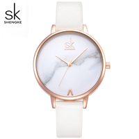SHENGKE Top Brand Fashion Ladies Marble Dial Watches Leather Female Quartz Watch Women Thin Fashion Wristwatches