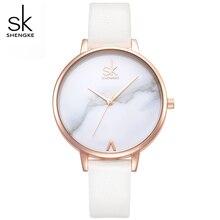 SHENGKE Top Brand Fashion Ladies Marble Dial Watches Leather Female Quartz Watch Women Thin Fashion Wristwatches