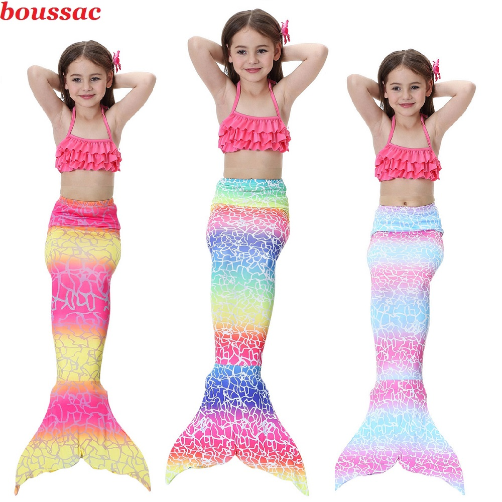 3-14Y Mermaid Tails Costumes With Monofin Fin Girls Bikini Girls Kids Swimsuit The Little Tail Mermaid Cosplay Costume