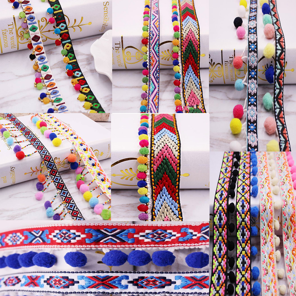 Pom Pom Trim Lace Fabric Sewing Accessories Pompoms Trim Tassel Ball Fringes Ribbon Sewing Lace For DIY Material Craft Apparel