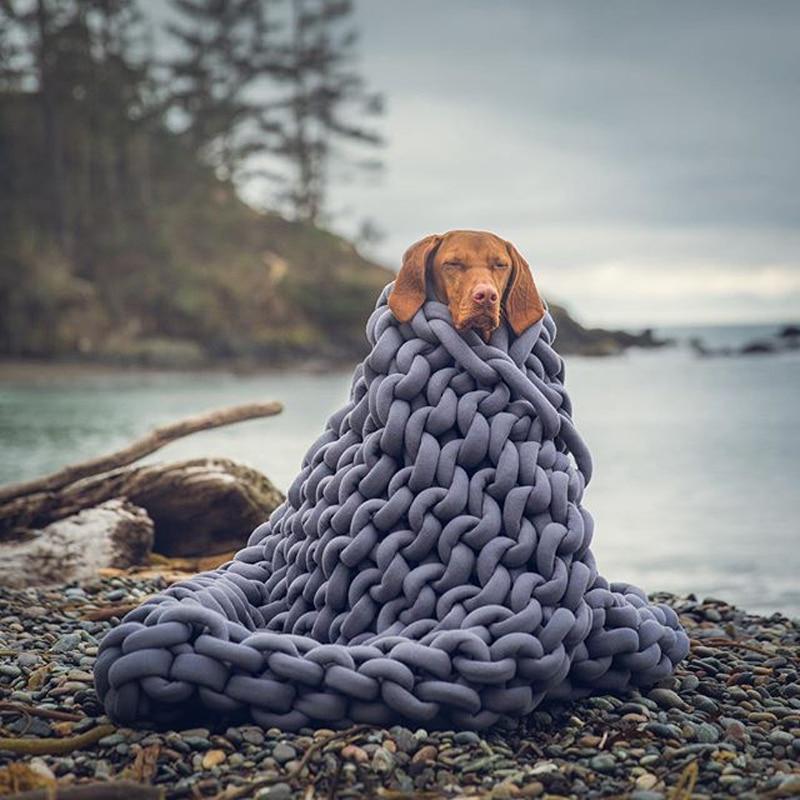 2018 INS акрил грубые линии Коренастый вязаное одеяло s зима Lagre машинная стирка домашний декор бросает s - 2