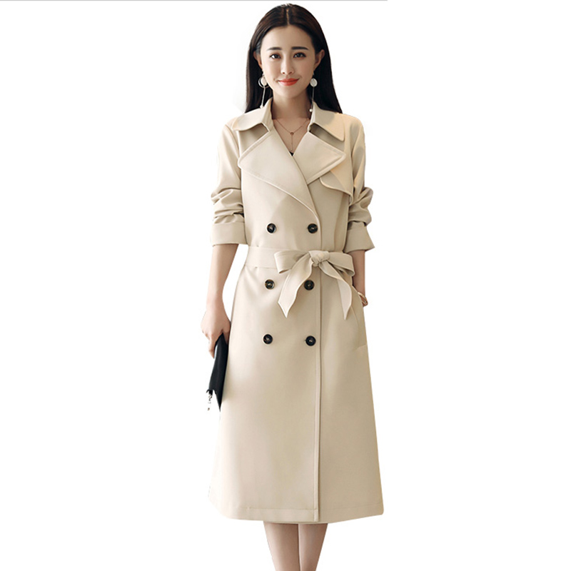 Spring Autumn Fashion Women Double Breasted   Trench   Coat New Casual Long Overcoat Female Windbreaker High Quality Solid Coat A635