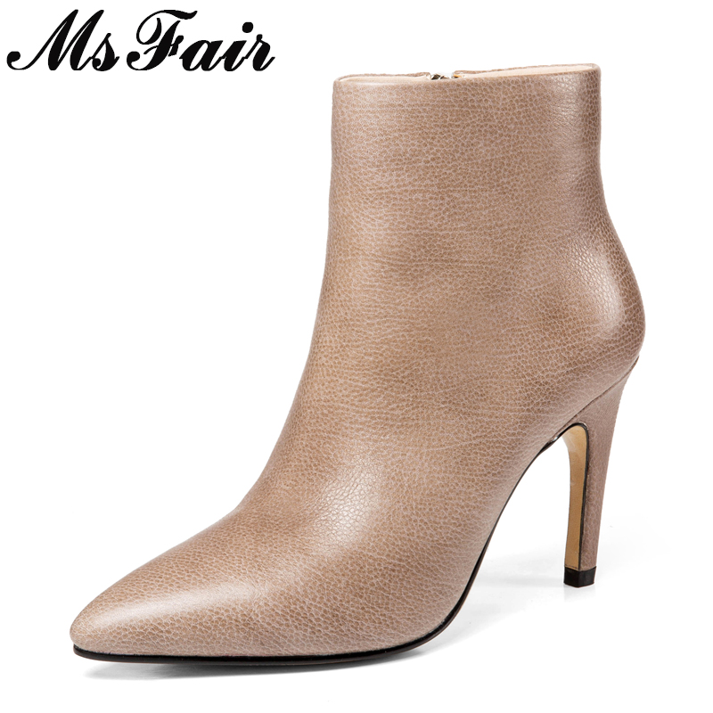 MSFAIR Pointed Toe Stiletto heel Women Boots Fashion Metal Zipper Ankle Boots Women Shoes High Heels Black Boots Shoes Woman msfair pointed toe super high heel women boots fashion zipper ankle boots women shoes elegant thin heels black khaki boots shoes
