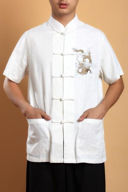 Verão bege camisa de linho de algodão homens dragão chinês Kung - Fu Tops com bolso sml XL XXL XXXL MS0010