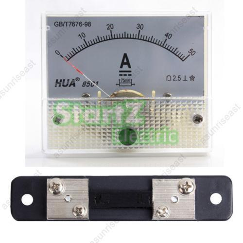 1 x DC 50A Panel analógico medidor de corriente + derivación de corriente 85C1 amperímetro de