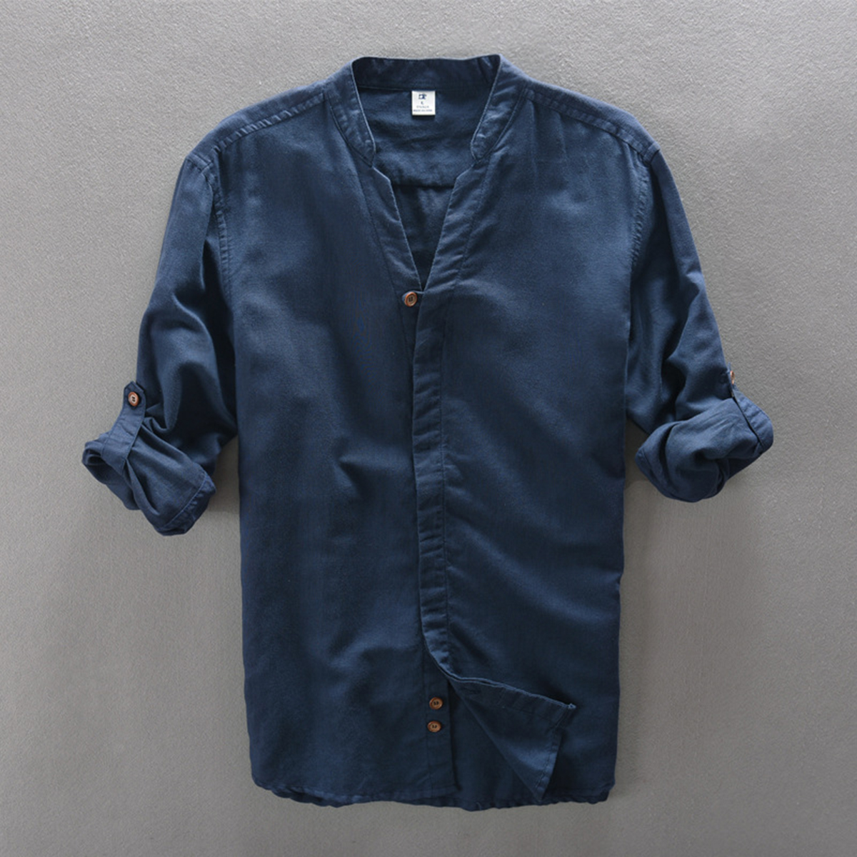 Мужские льняные рубашки Helisopus, повседневные облегающие рубашки с длинным рукавом и v образным вырезом, уличная одежда, китайские Топы Kongfu, camisa masculina|vintage linen shirt|linen shirts menfit shirt | АлиЭкспресс