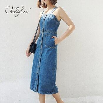 f1c31a39e5f Ordifree 2019 летний женский джинсовый сарафан повседневные джинсы платье  Комбинезоны синий ремень сексуальное длинное джинсовое платье