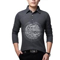BROWON Chinese Style T Shirt Men Long Sleeve T Shirt Dragon Print Spring New Slim Fit