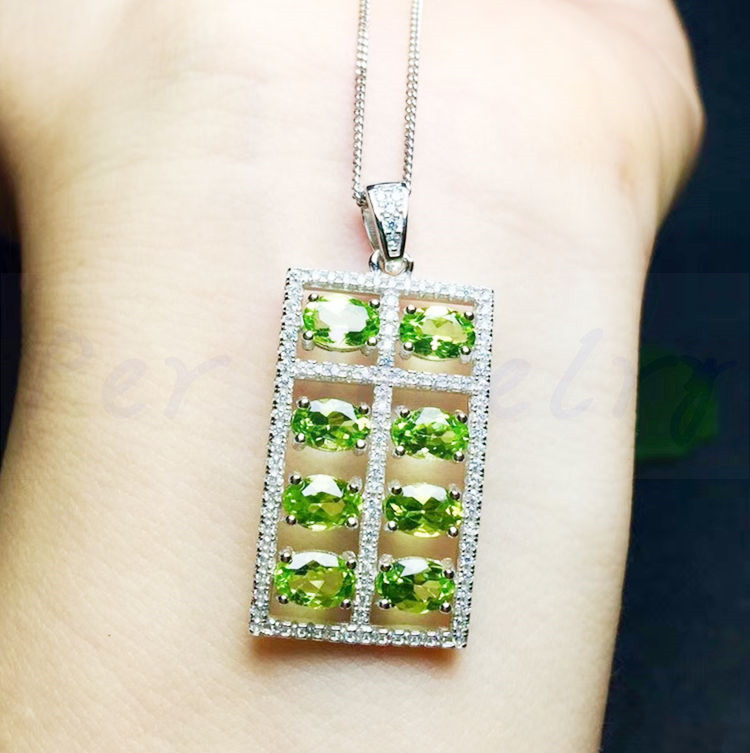 c4d65fe4b Natural peridot necklace pendant Free shippping 925 sterling silver Abacus  style For men women 0.28ct*8pcs gemstone #TF18072411-in Pendants from  Jewelry ...