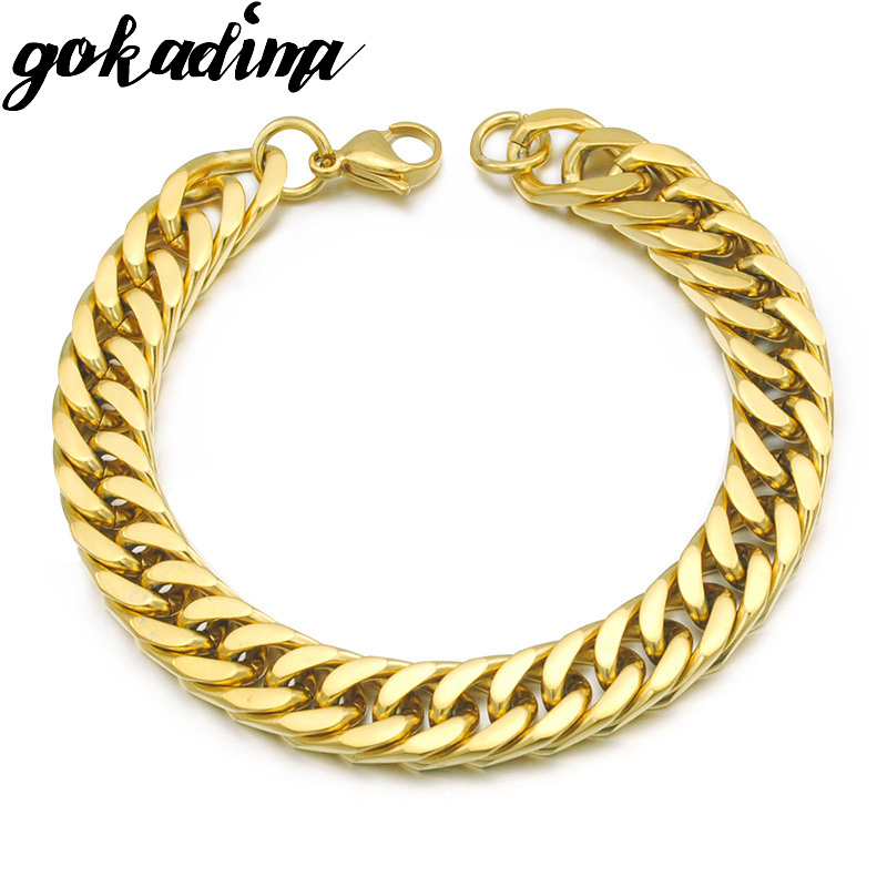 Gokadima Gold Color Stainless Steel Bracelets Curb Cuban Chain Men Bracelet Jewelry pulseira masculina 2017, Christmas Gift