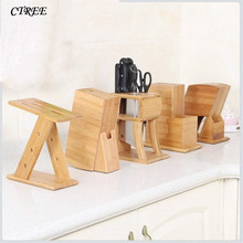 CTREE New Multifunctional Holes Bamboo Knife Rack Creative Storage Tool Wood Kitchen Holder Stand Supplies C487
