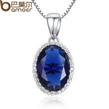 BAMOER Hotsale High Quality Blue Stone Women Platinum Plated Necklace Adjustable Chains For Gift YIN052-BU