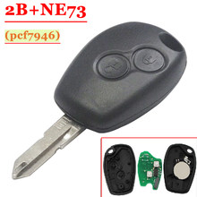 Free shipping (1pcs) 2 Button PCF7946 Chip Remote Control With NE73 Blade For Renault Duster Modus Clio 3 433MHz(China)