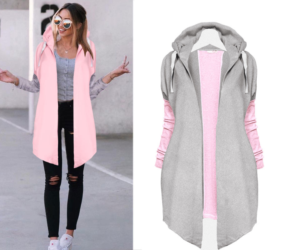Oversized Women Irregular Hem Tie Collar Coat Casual Knitted Patchwork Female Zip-up Sweatshirts Fashion Outwear Streetwear