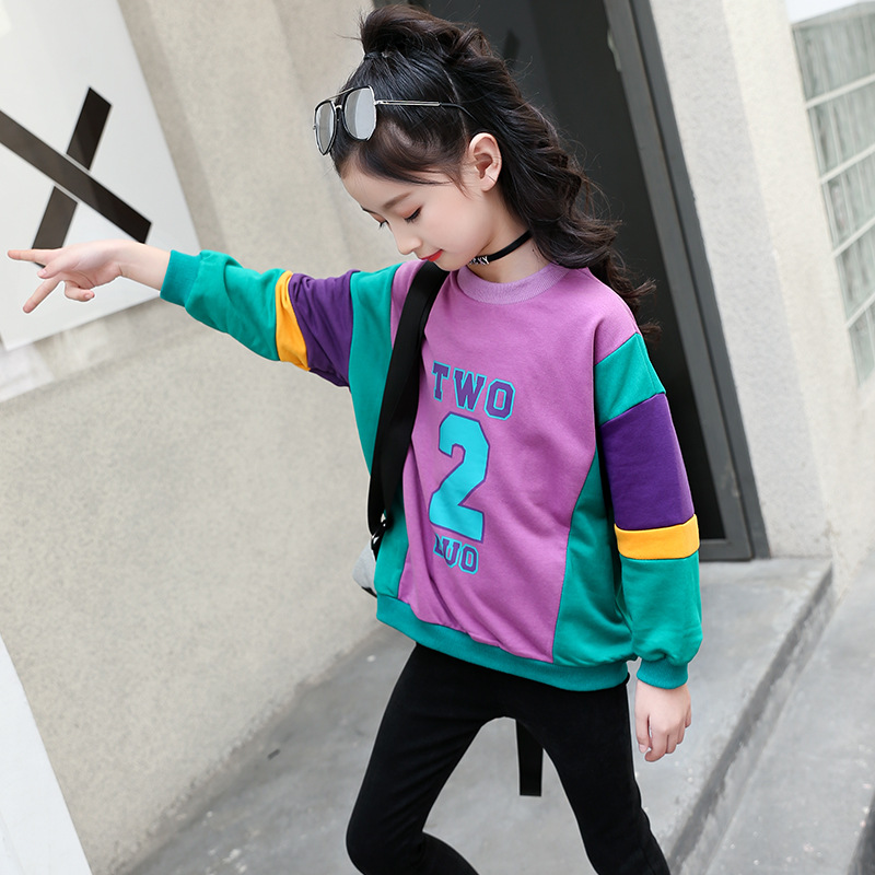 Girls sweater spring and autumn loaded thick sweater new sports letter long sleeve jacket hit color cotton casual shirt in Hoodies Sweatshirts from Mother Kids