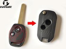 цена на NEW !! 2 Buttons Modified Flip Folding Remote Key FOB Key Shell Case For Honda Fit Accord Odyssey Civic CRV Key Blanks