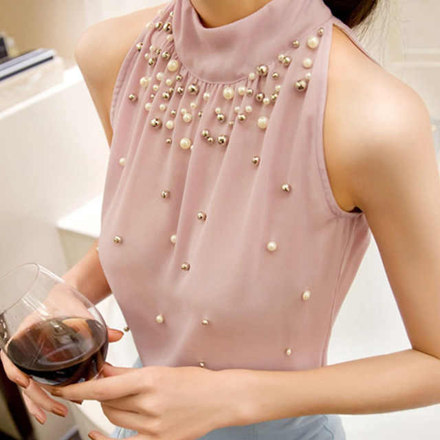 1684e820859 Chiffon Sleeveless Beads Pearl Women s Shirt Turtleneck Bowtie Cold  Shoulder Pleated Feminine Blouse 2019 Summer Fashion