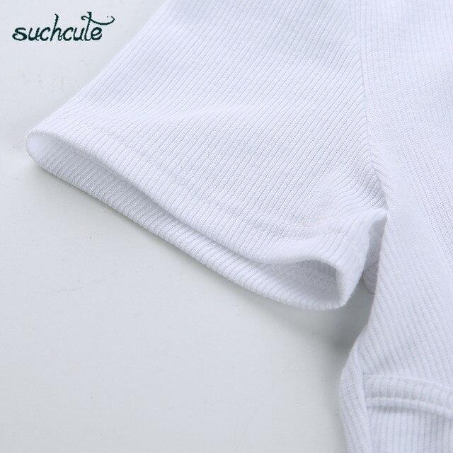 SUCHCUTE, camiseta para Mujer, Top corto, camisa Blanca, correa De Mujer, De Moda De verano 2019, Polera Blanca, Moda informal De estilo coreano para Mujer 4