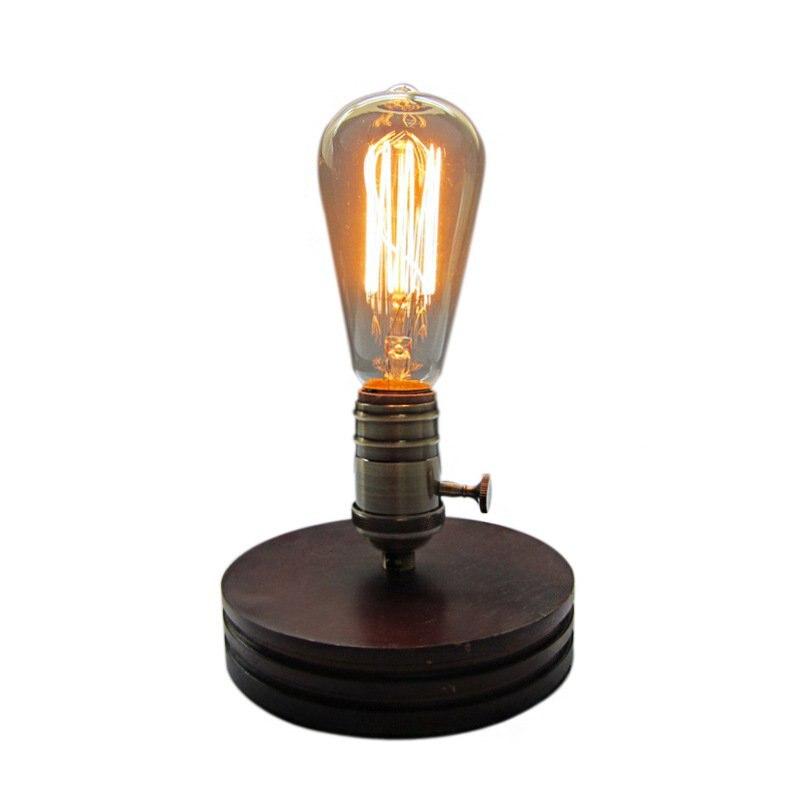 Rétro café Table lampe bois Vintage bureau lampe commutateurs rotatifs Edison ampoule chambre Bar Table lumière bureau lumière en bois