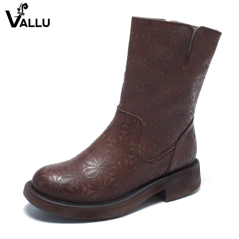 2018 VALLU Real Leather Shoes Women Boots Round Toes Side Zipper Square Heels Round Toes Cowhide Ladies Ankle Boots